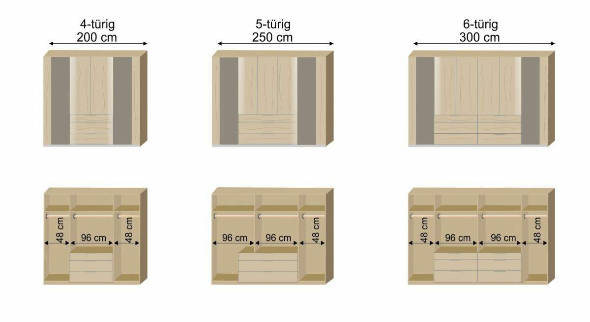 Grafik zur Inneneinteilung des Funktions-Kleiderschranks Naila