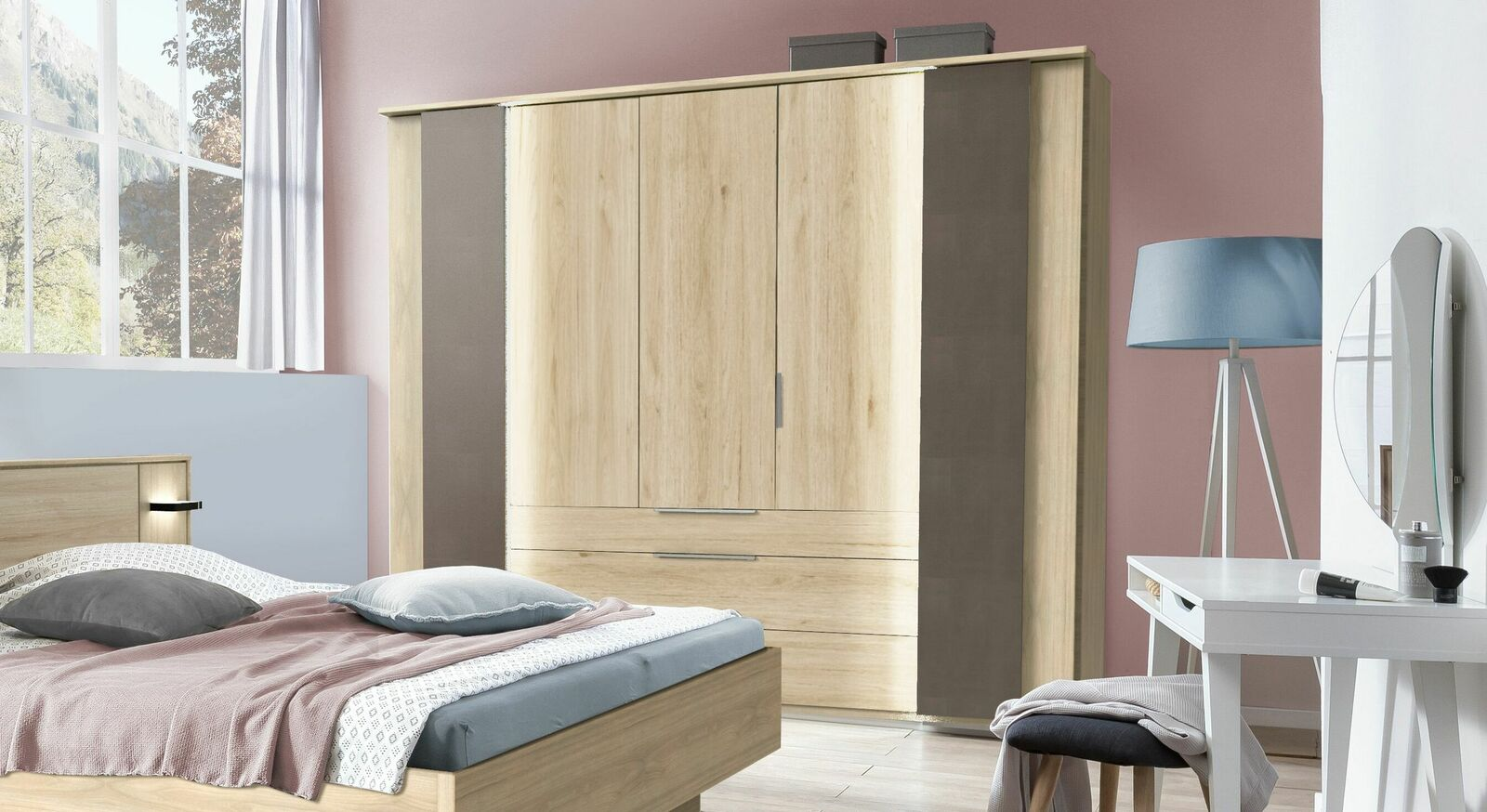 Funktions-Kleiderschrank Naila in Hickory-Oak Dekor