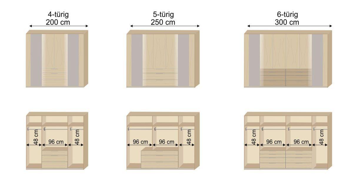 Grafik zur Innenausstattung des Funktions-Kleiderschranks Pomona