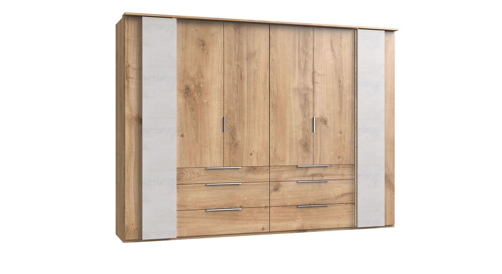 Funktions-Kleiderschrank Pomona mit Koffertüren in Beton-Optik