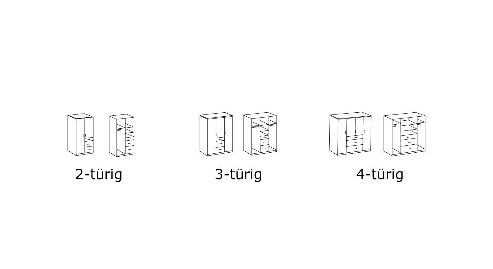 Maßgrafik zu den Varianten des Funktions-Kleiderschranks Prea