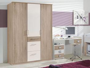 jugendzimmer mit viel stauraum in eiche nachbildung wei prea. Black Bedroom Furniture Sets. Home Design Ideas