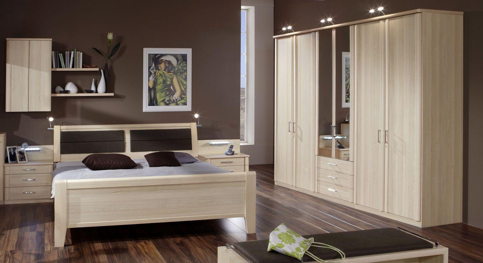 Kleiderschrank mit Spiegel und Schubladen in Esche Dekor - Rapino