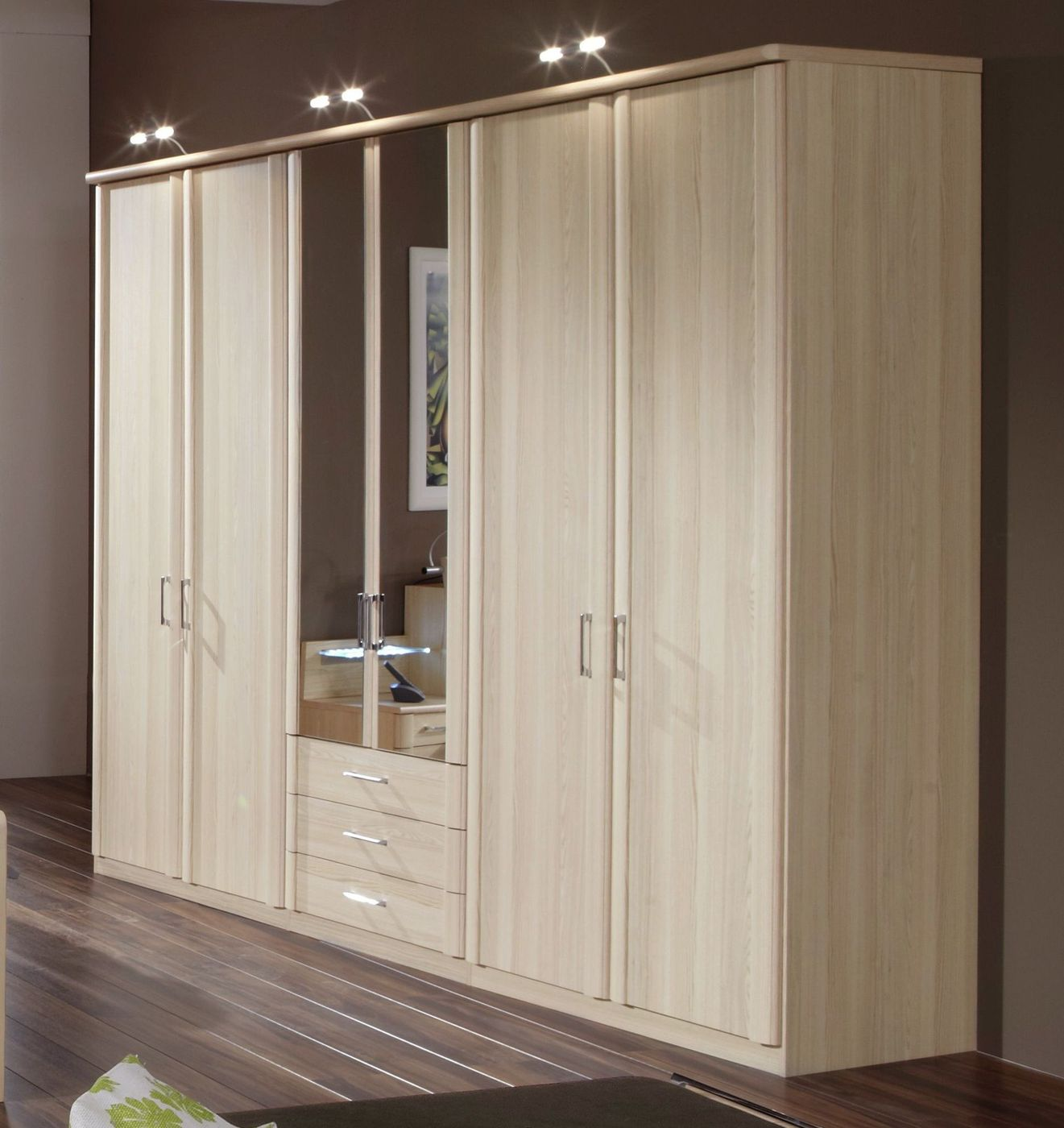 kleiderschrank mit spiegel und schubladen in esche dekor rapino. Black Bedroom Furniture Sets. Home Design Ideas