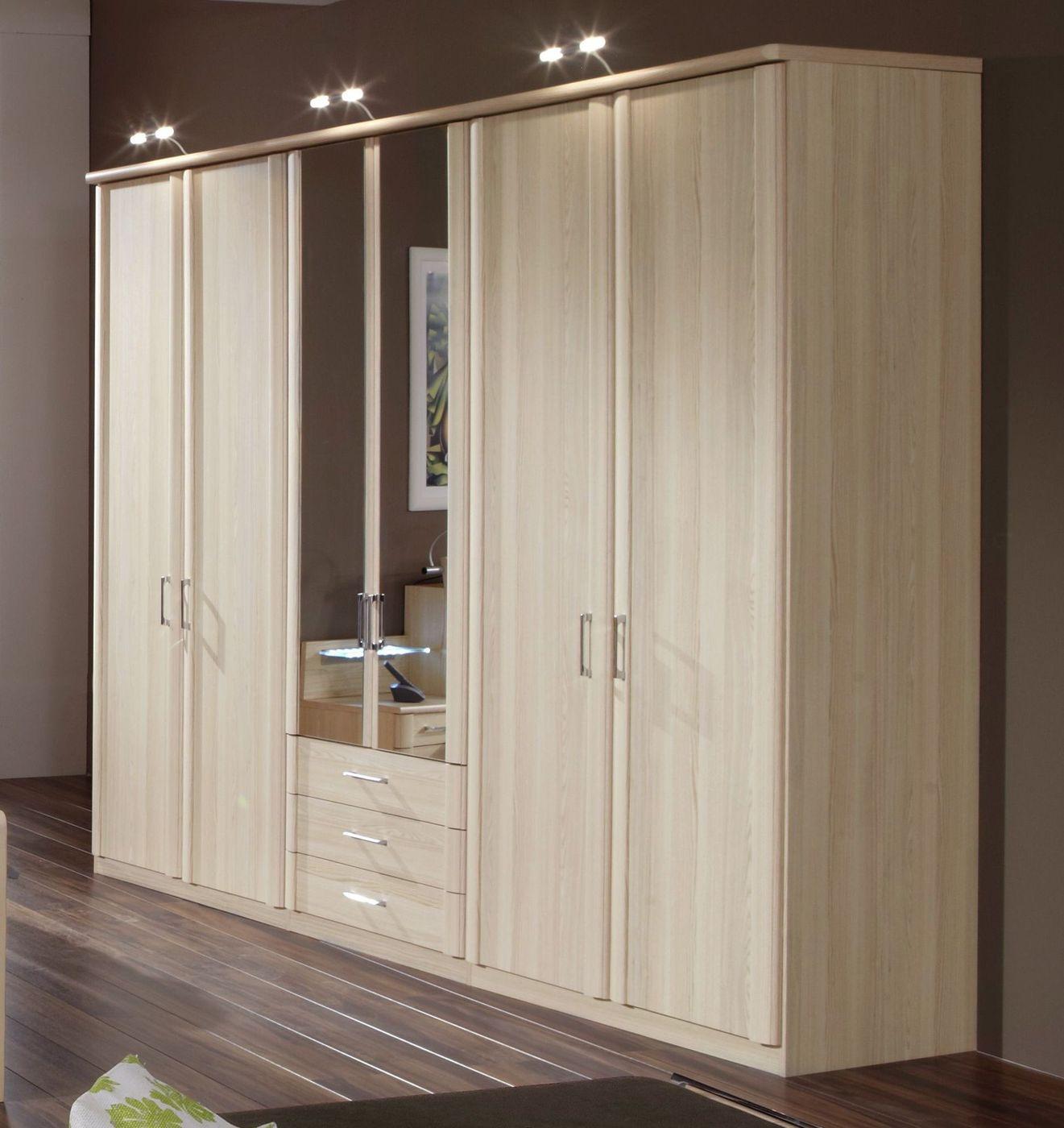 kleiderschrank mit spiegel und schubladen in esche dekor. Black Bedroom Furniture Sets. Home Design Ideas