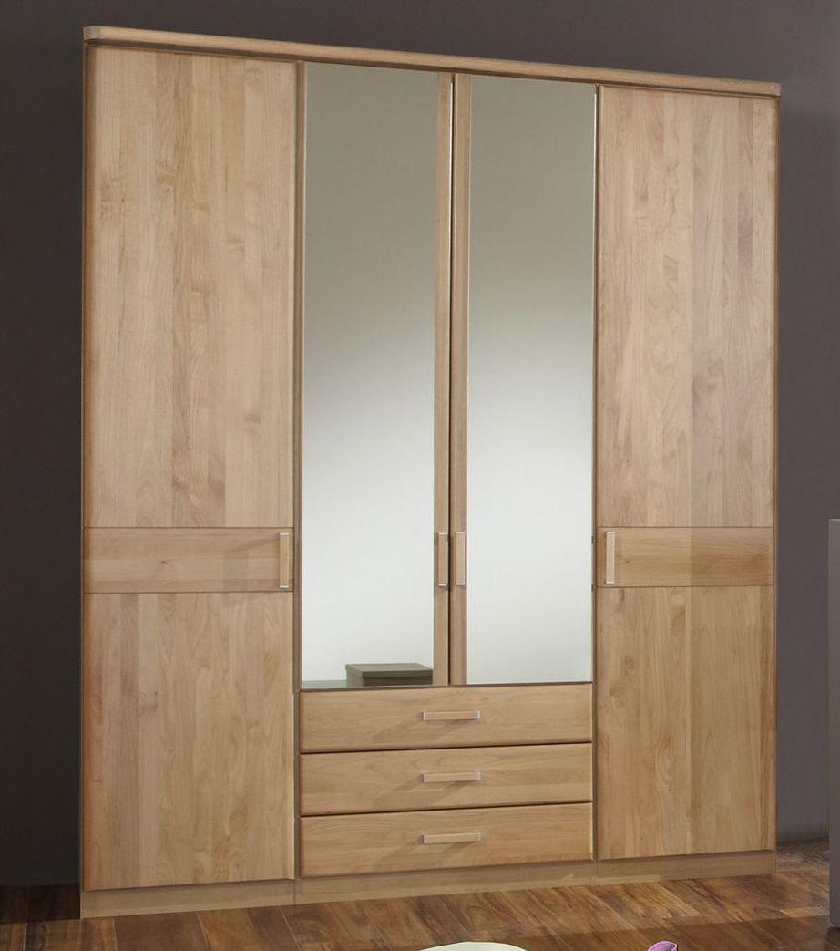 kleiderschrank mit holz und spiegelt ren und schubladen sanando. Black Bedroom Furniture Sets. Home Design Ideas