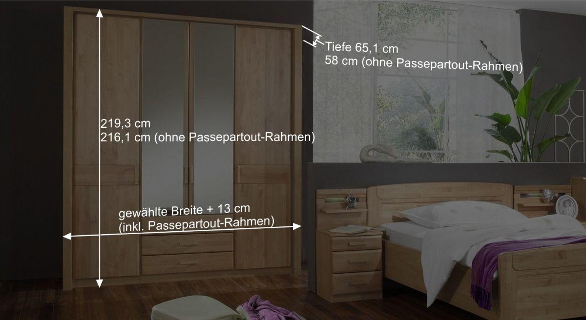 Kleiderschrank mit Holz- und Spiegeltüren und Schubladen - Sanando