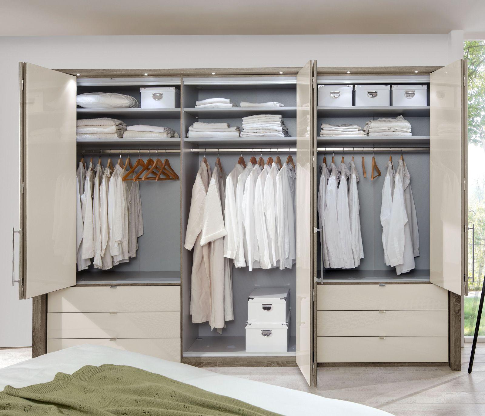 Kleiderschrank in Trüffeleiche mit Falttüren & Schubladen - Tiko