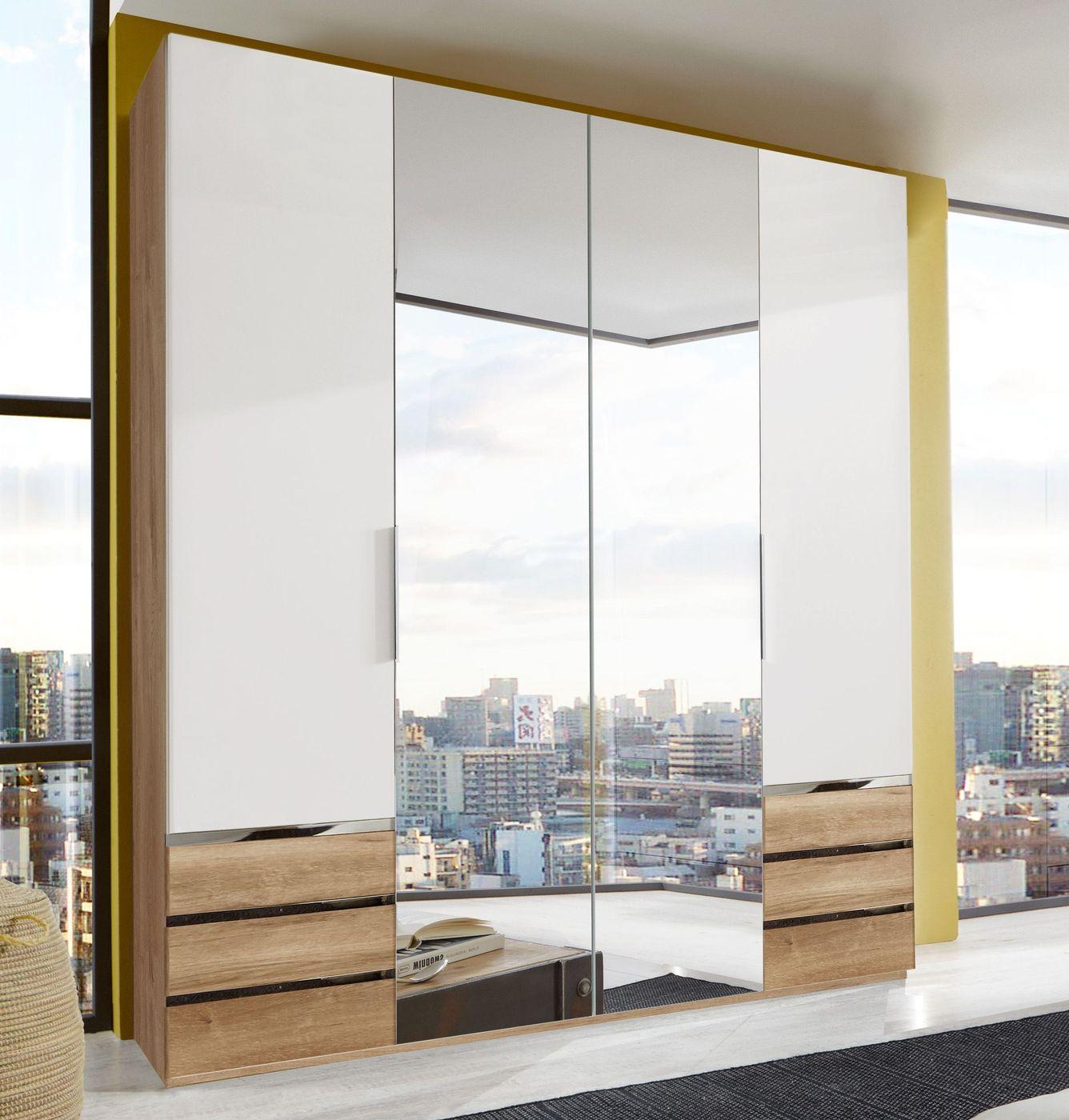 spiegel kleiderschrank in wei und plankeneiche dekor valloria. Black Bedroom Furniture Sets. Home Design Ideas