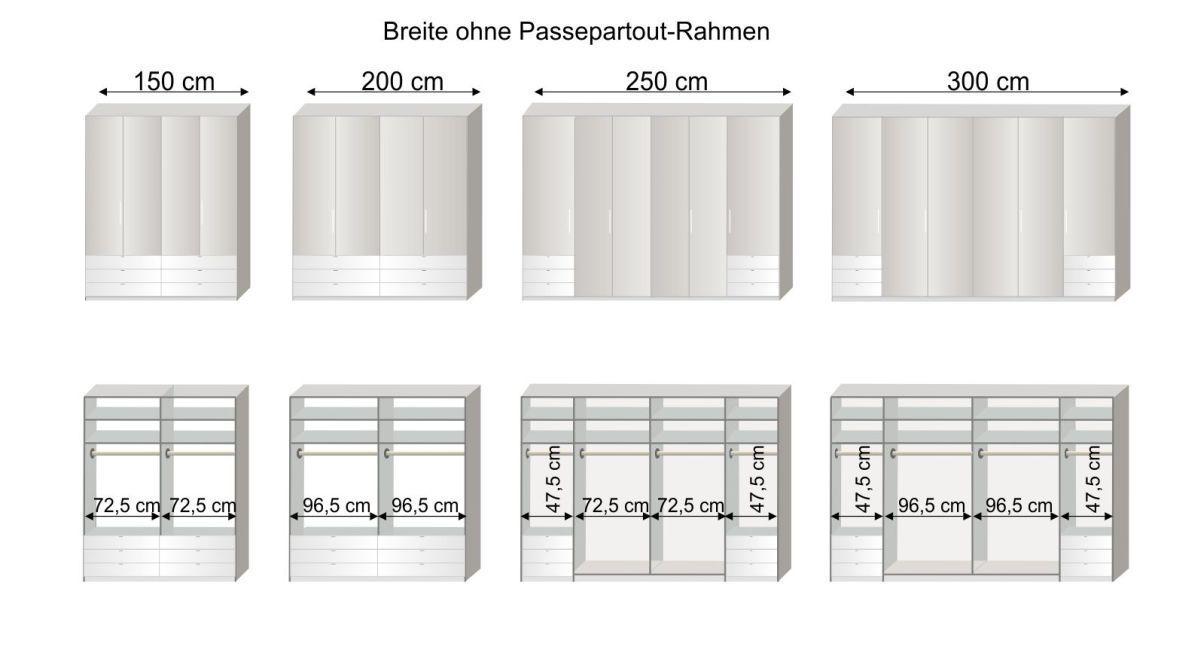Grafik zur Inneneinteilung des Funktions-Kleiderschranks Westville in den Breiten 150-300 cm