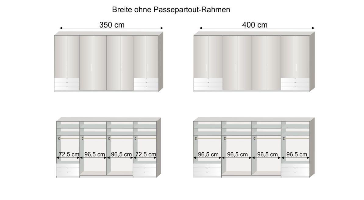 Grafik zur Inneneinteilung des Funktions-Kleiderschranks Westville in 350 und 400 cm Breite