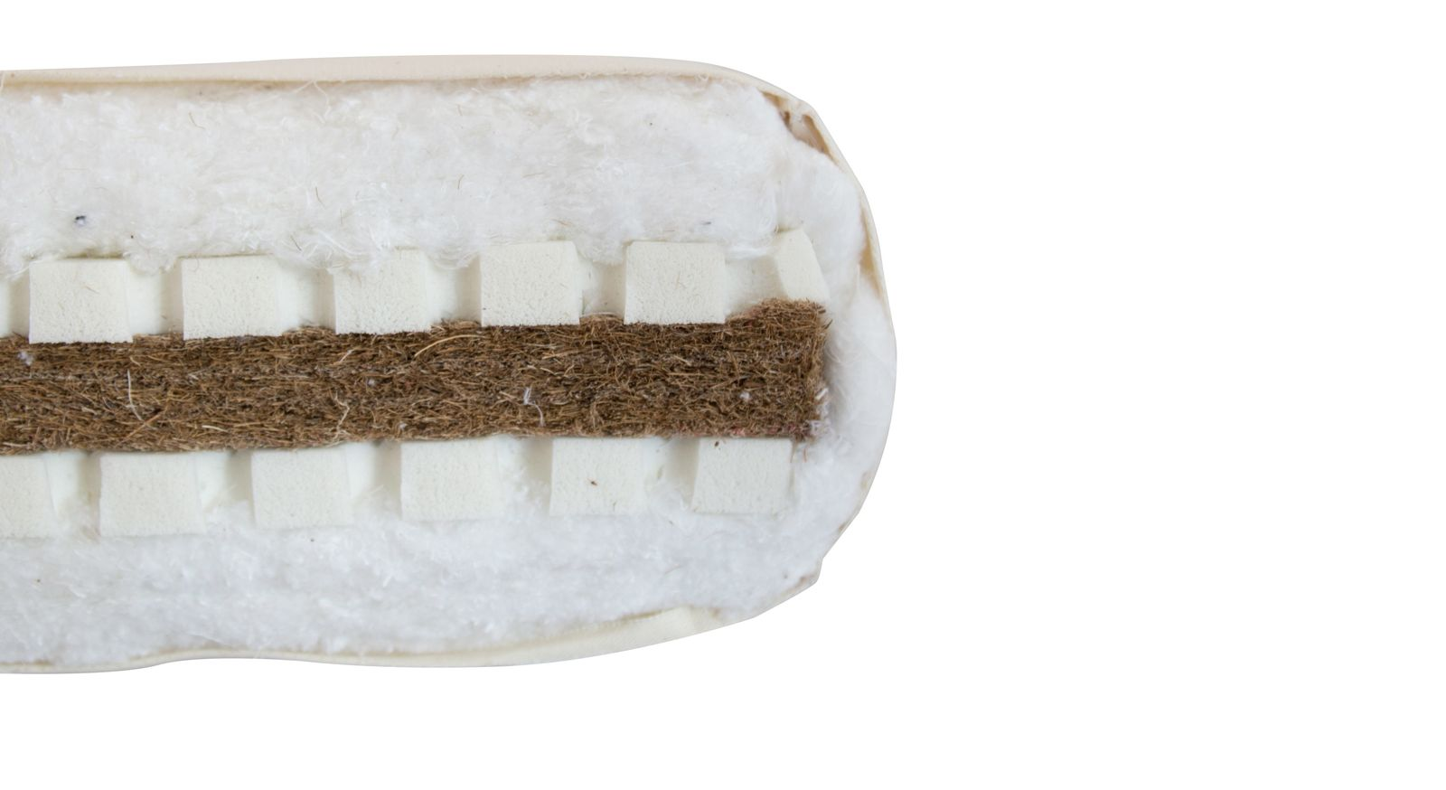 Querschnitt der komfortablen Futonmatratze Latex-Kokos