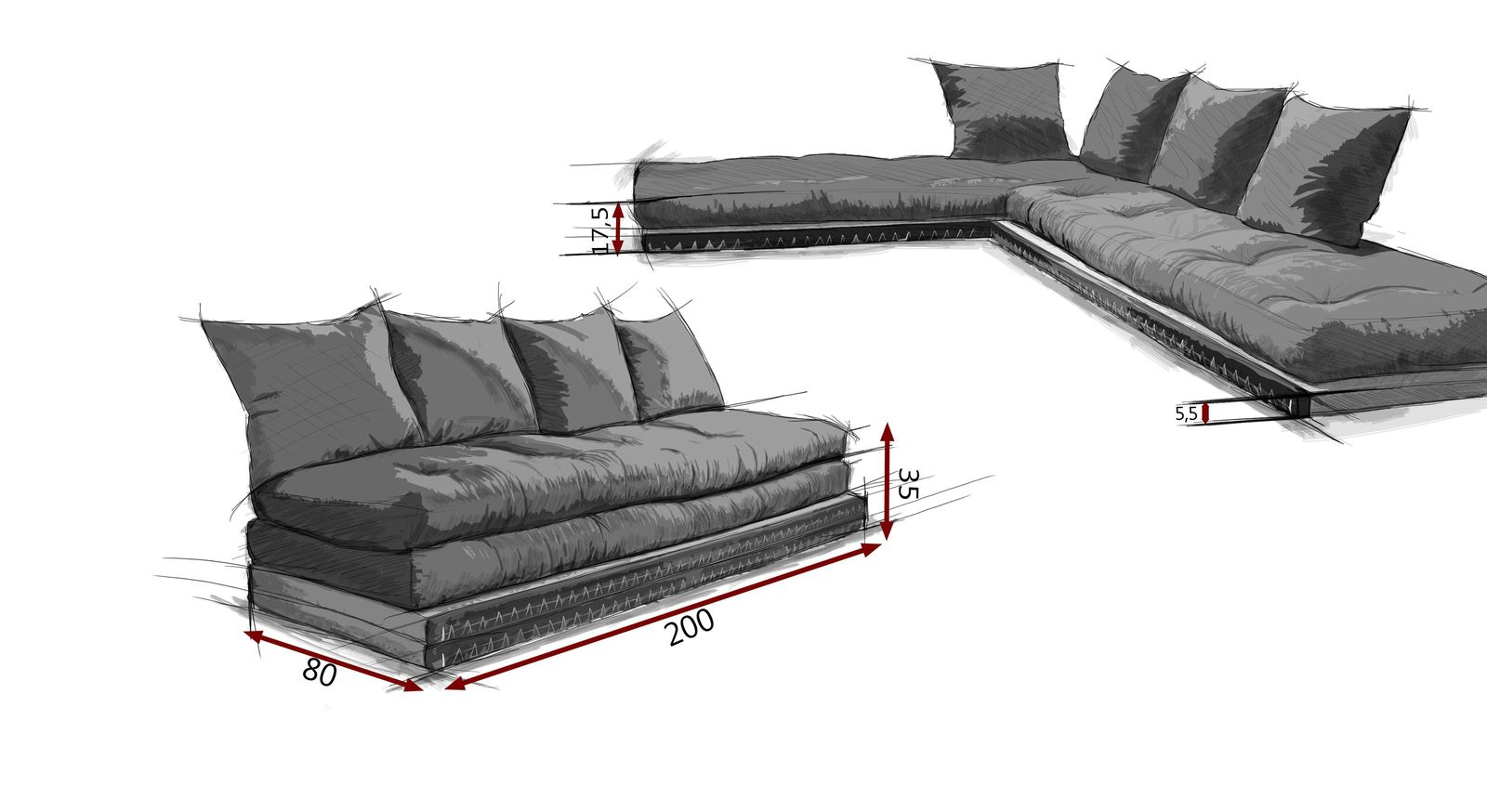 niedriges futonsofa mit tatamis matratzen und kissen borbona. Black Bedroom Furniture Sets. Home Design Ideas