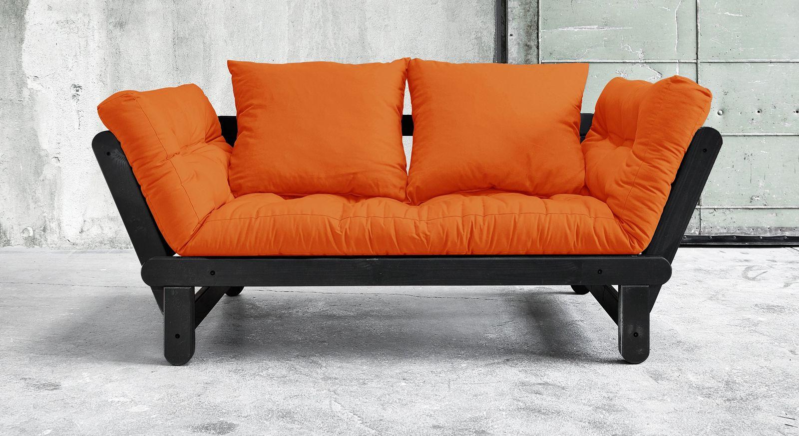 Futonsofa Faleria mit Matratze in Orange