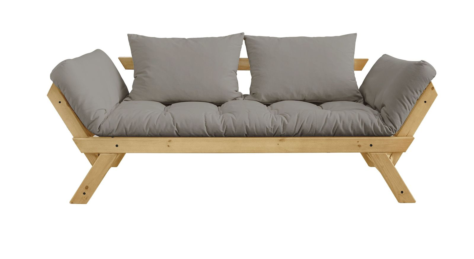 Modernes Futonsofa Gariana mit stylischem Holzgestell