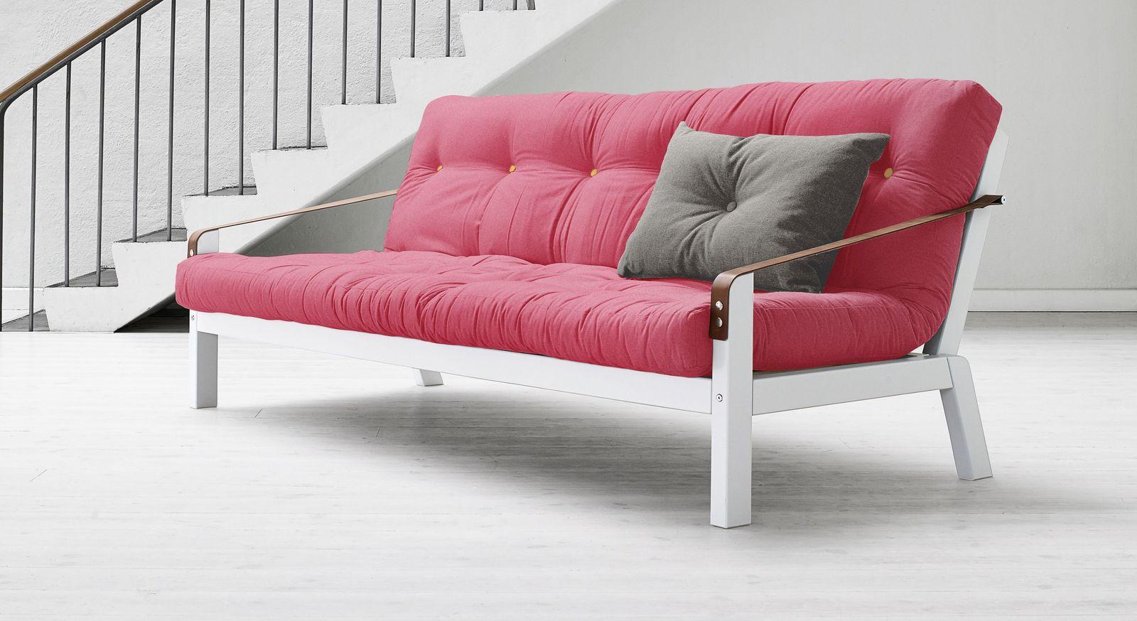 Farbenfrohes Futonsofa Leonessa mit pinker Matratze