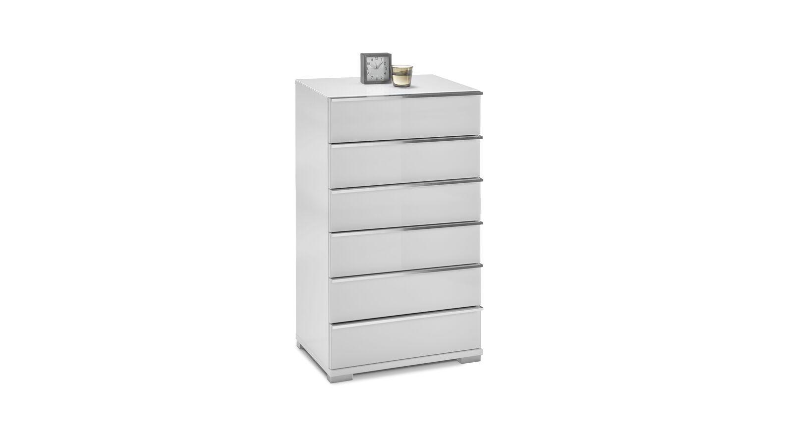 Schmale GALLERY M Kommode IMOLA W in Weiß mit 6 Schubladen