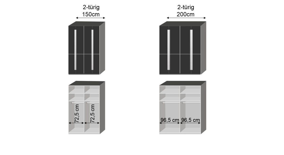 Bemaßungsgrafik zum Schwebetüren Kleiderschrank Imola