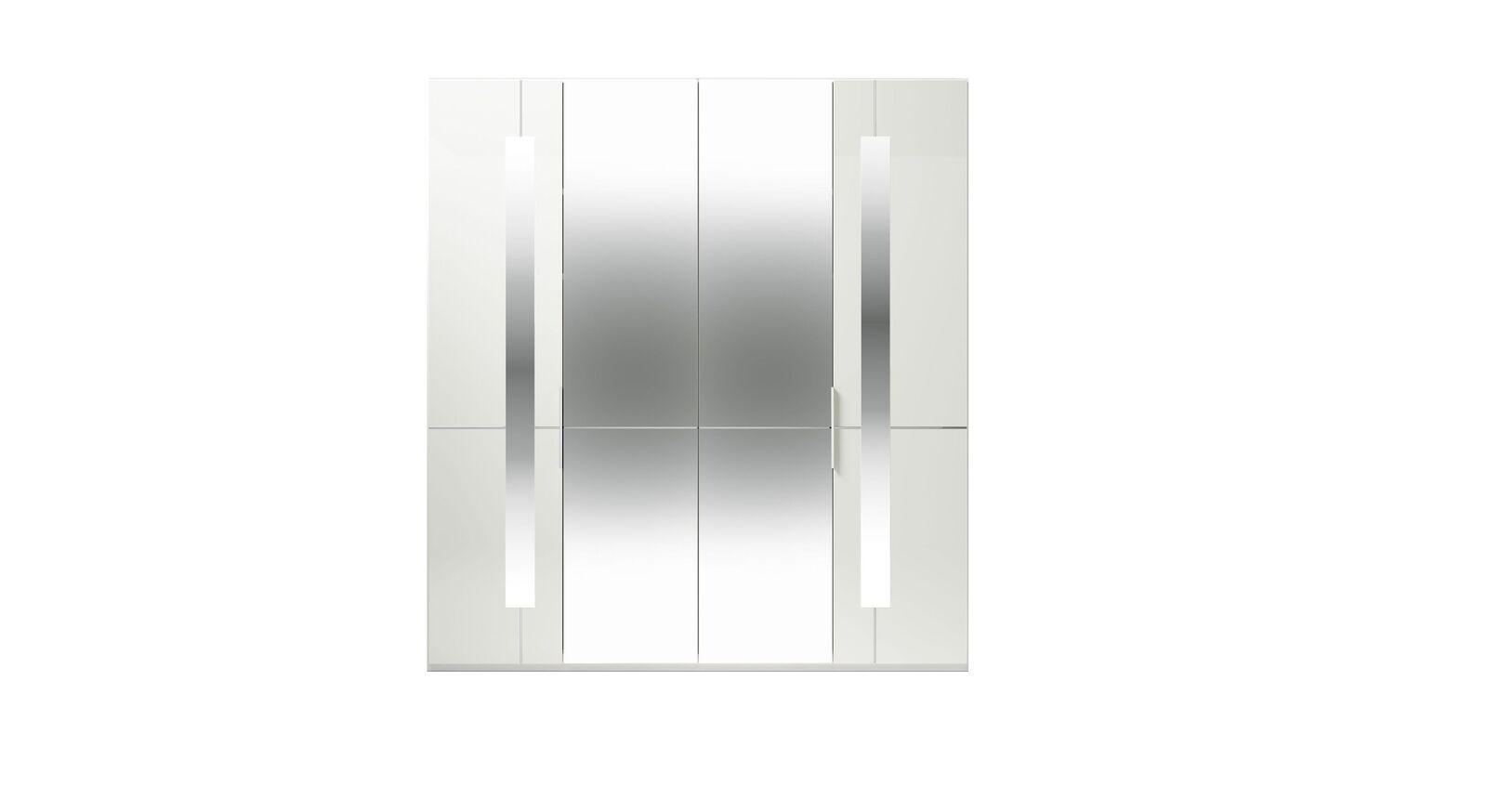 4-türiger GALLERY M Spiegel-Drehtüren-Kleiderschrank IMOLA W in Weiß