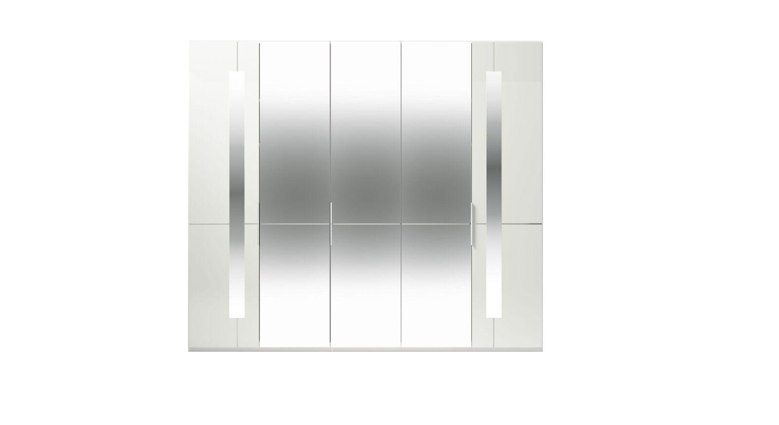 5-türiger GALLERY M Spiegel-Drehtüren-Kleiderschrank IMOLA W in Weiß
