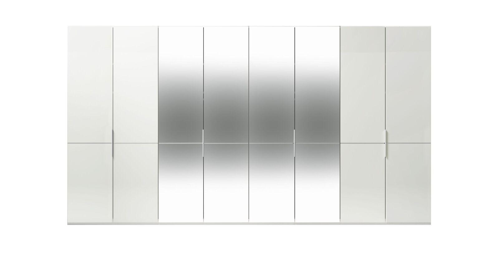 8-türiger GALLERY M Spiegel-Drehtüren-Kleiderschrank IMOLA W Weiß ohne Spiegel