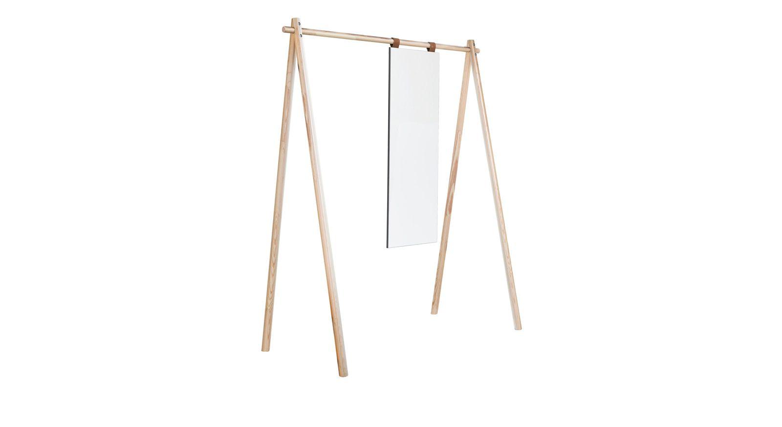 Garderobe Toffia aus naturfarbener Kiefer mit Spiegel