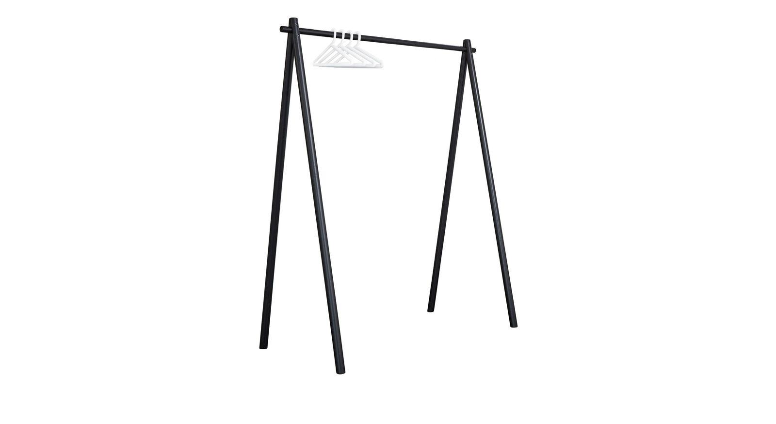 Schwarze Garderobe Toffia mit weißen Bügeln