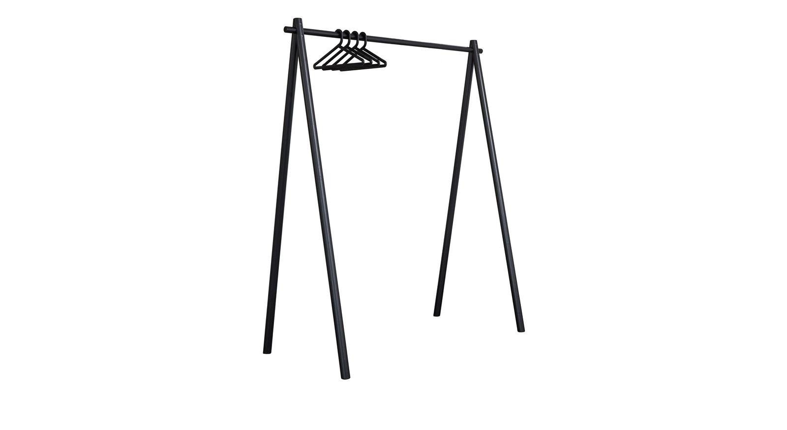 Garderobe Toffia aus Kiefer mit schwarzen Bügeln