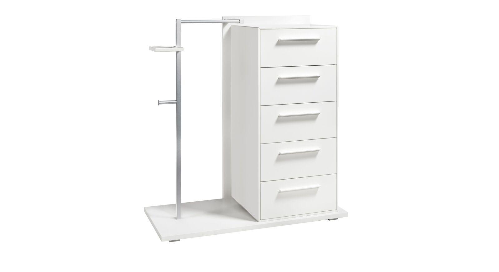 Garderoben-Kommode Cilona mit alufarbener Metallstange und weißen Platten