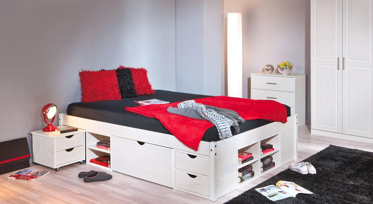Komplett-Schlafzimmer Göteborg aus weißer Kiefer