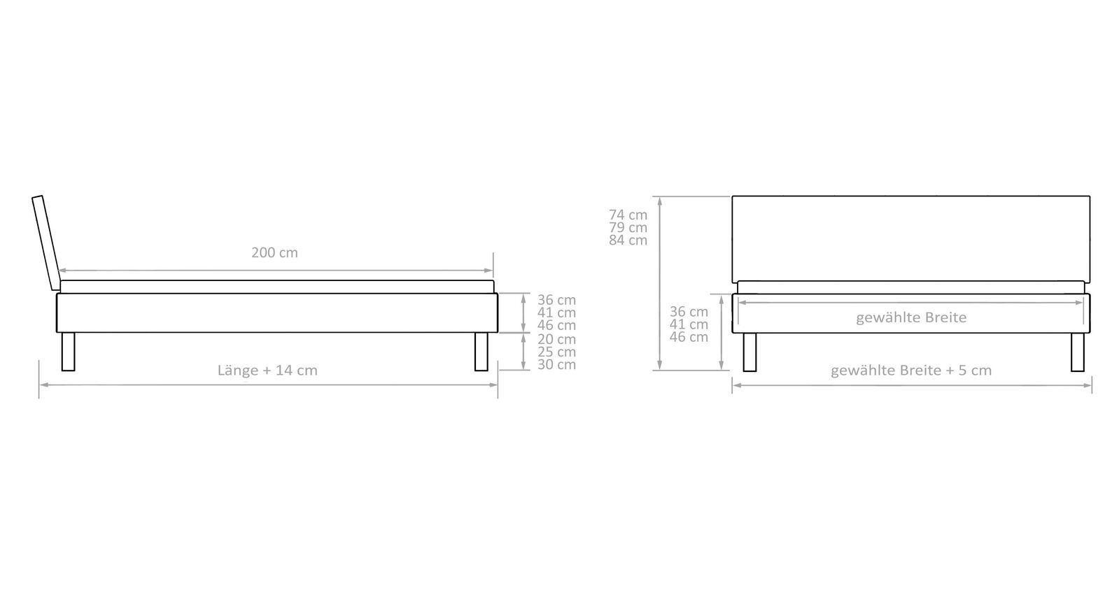 Maßgrafik zum Bett Tumas aus stabilem Massivholz