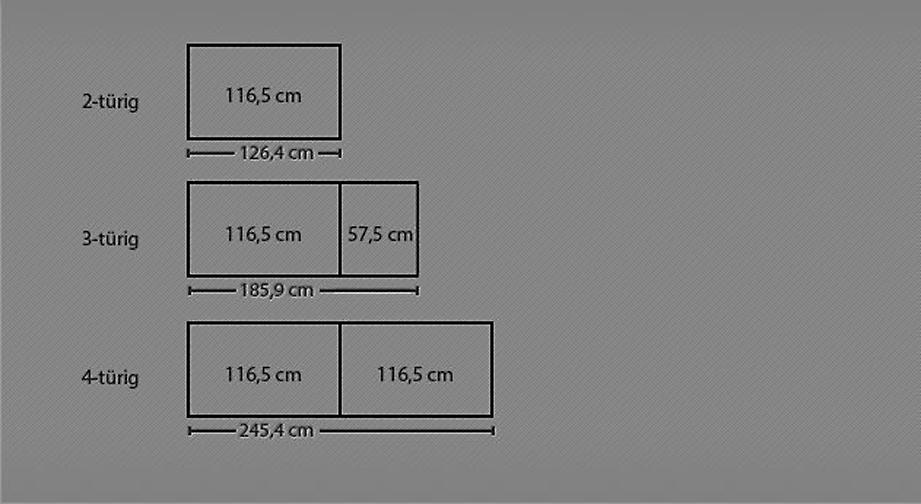 Grafik der Breiten vom Drehtüren-Kleiderschrank Imst