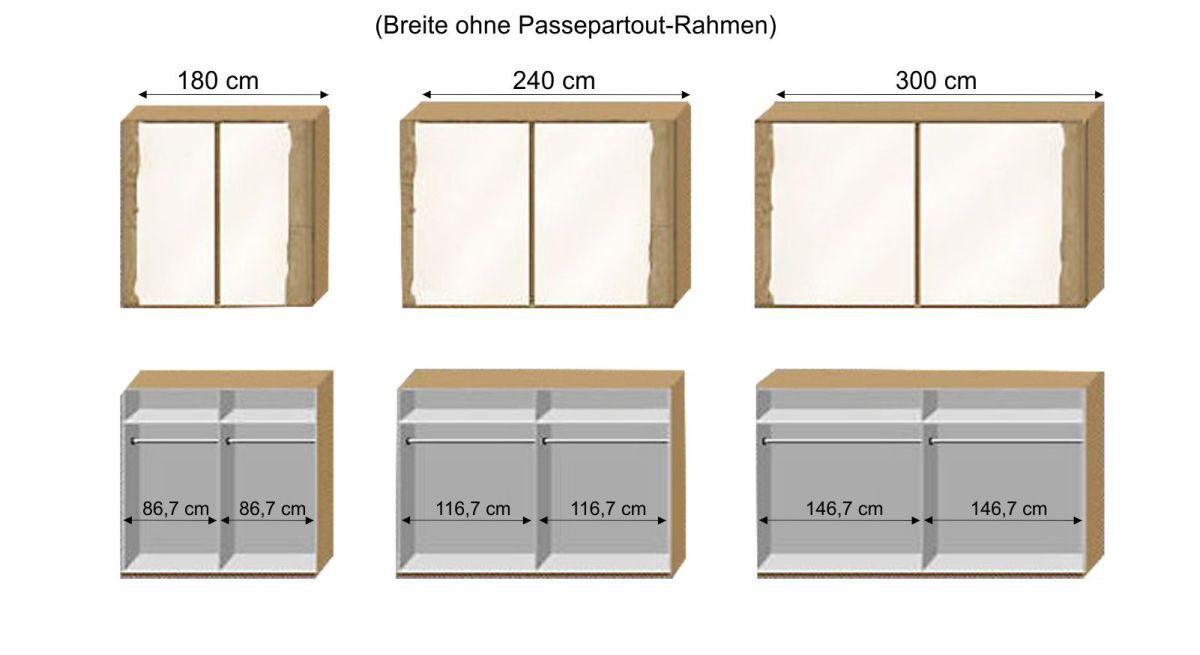 Grafik zur Inneneinteilung des Schwebetüren-Kleiderschranks Imst
