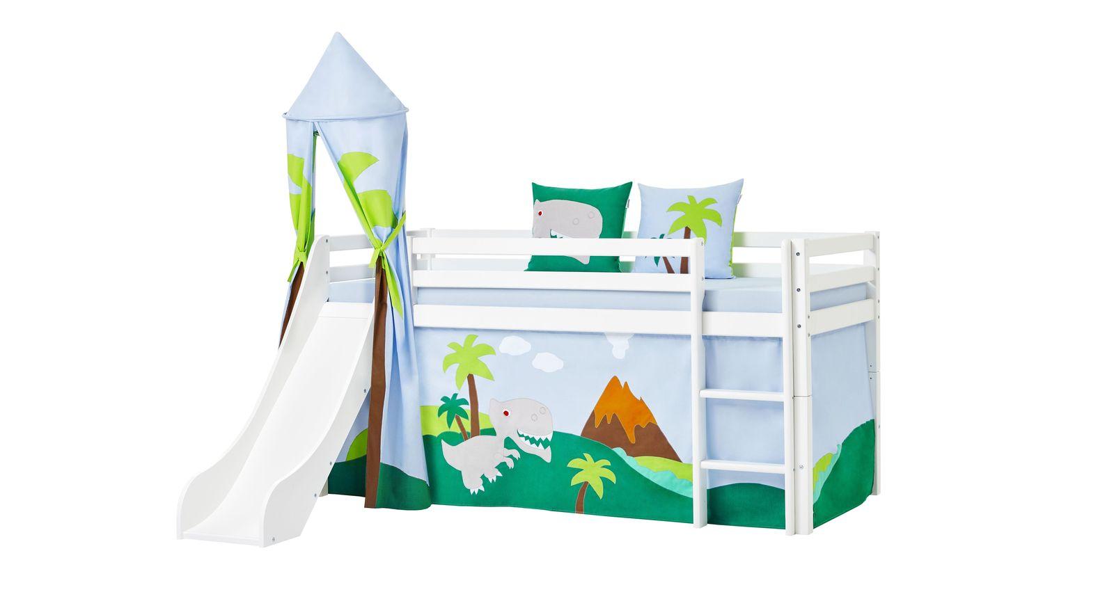 Halbhohes Bett Dinosaurier in 90x200 cm inklusive Rutsche