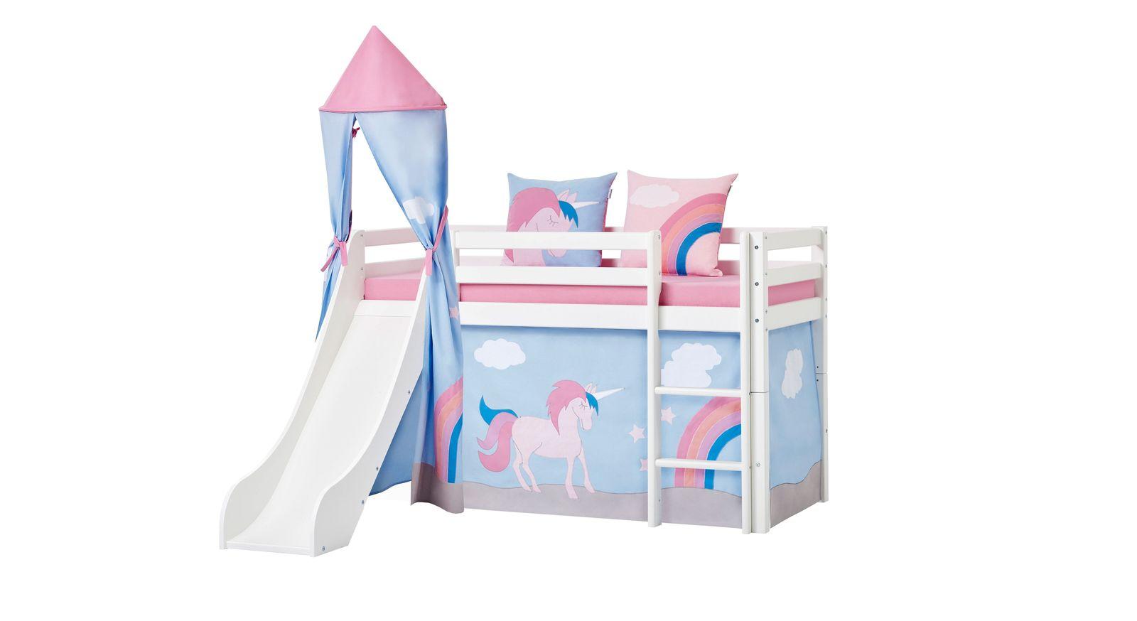 Kleines halbhohes Bett Einhorn mit optionalem Turm