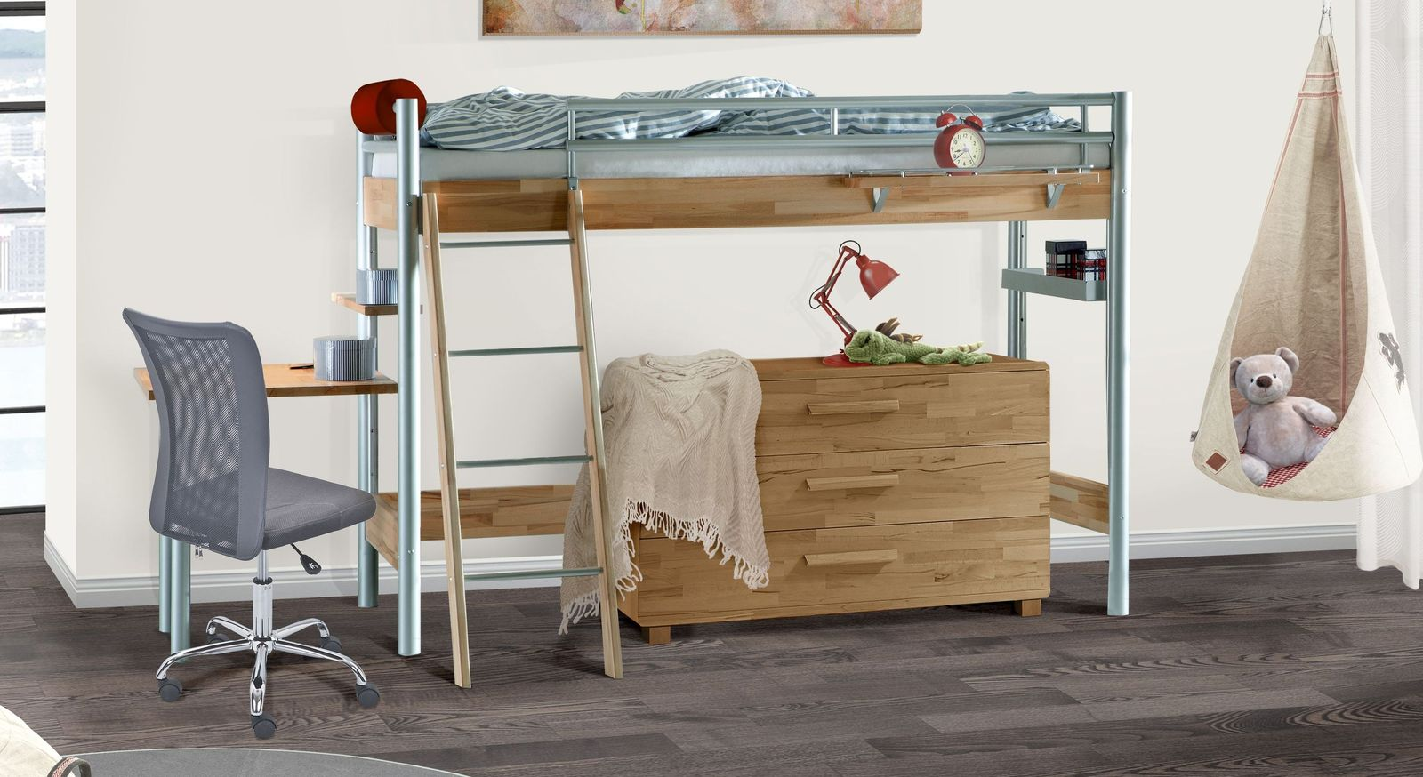 halbhohes bett mit schreibtisch aus massiver kernbuche lorena. Black Bedroom Furniture Sets. Home Design Ideas
