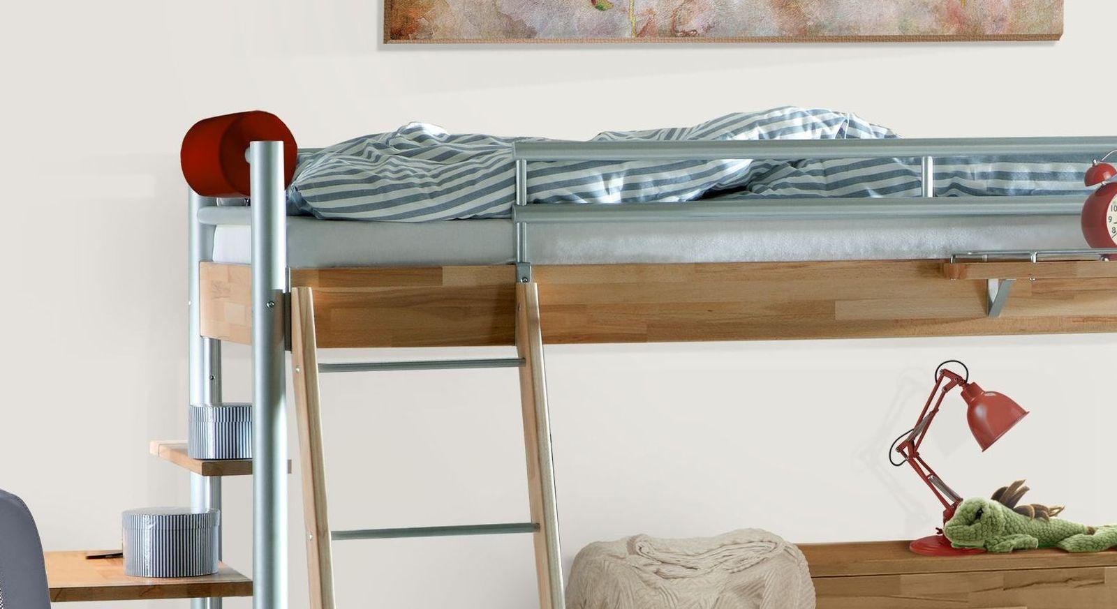 Halbhohes Bett Lorena mit sicherem Einstieg und Absturzsicherung