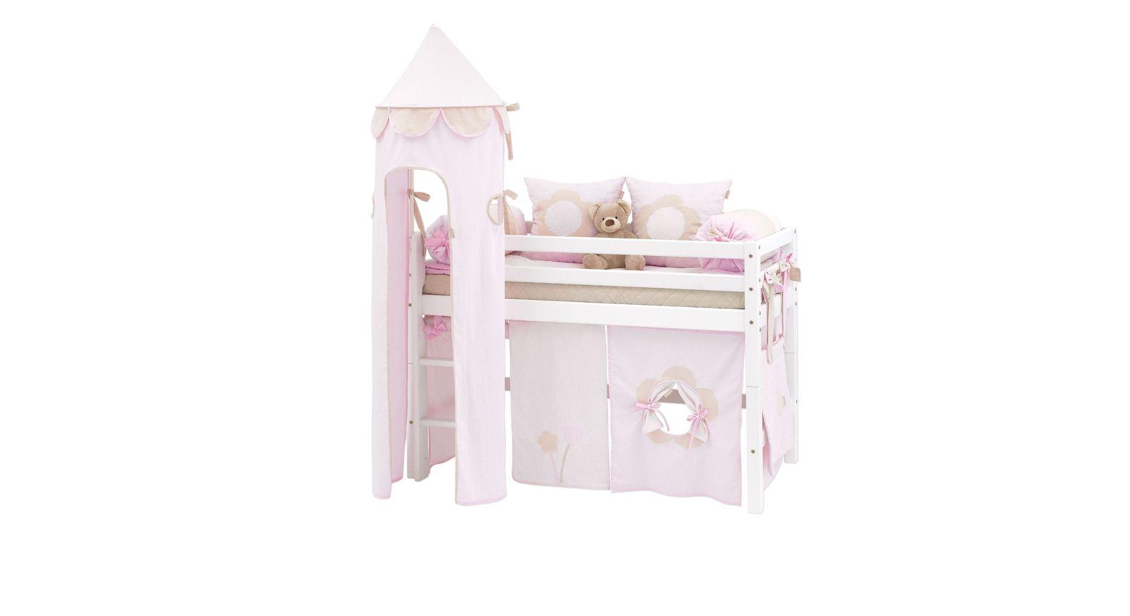 Halbhohes Bett Prinzessin optional mit Zubehör