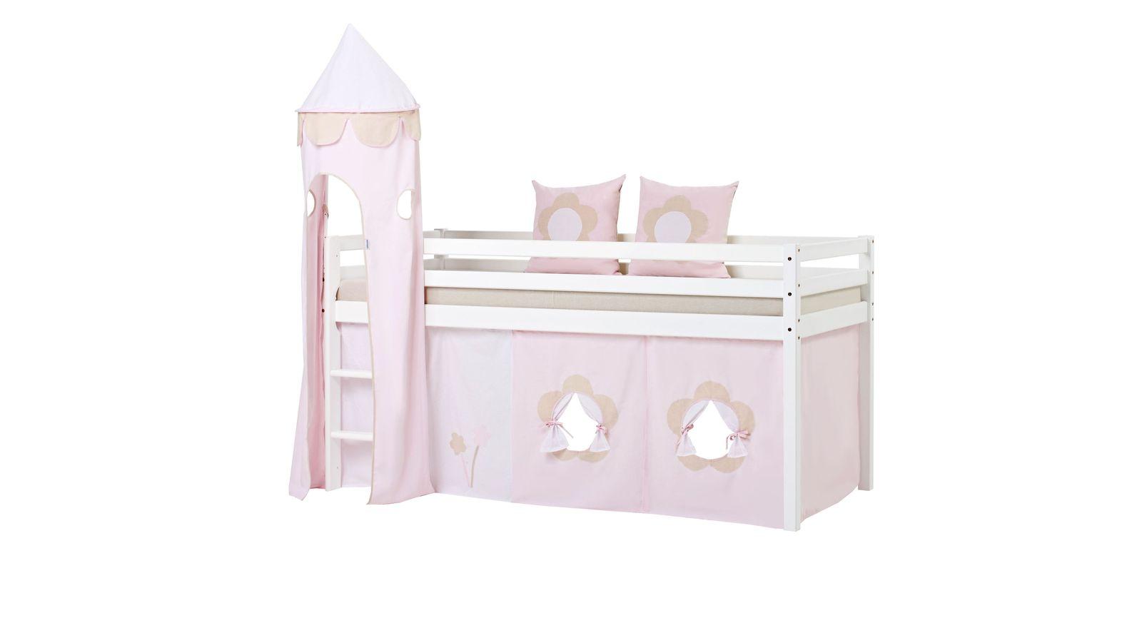 Halbhohes Bett Prinzessin aus weißem Kiefernholz