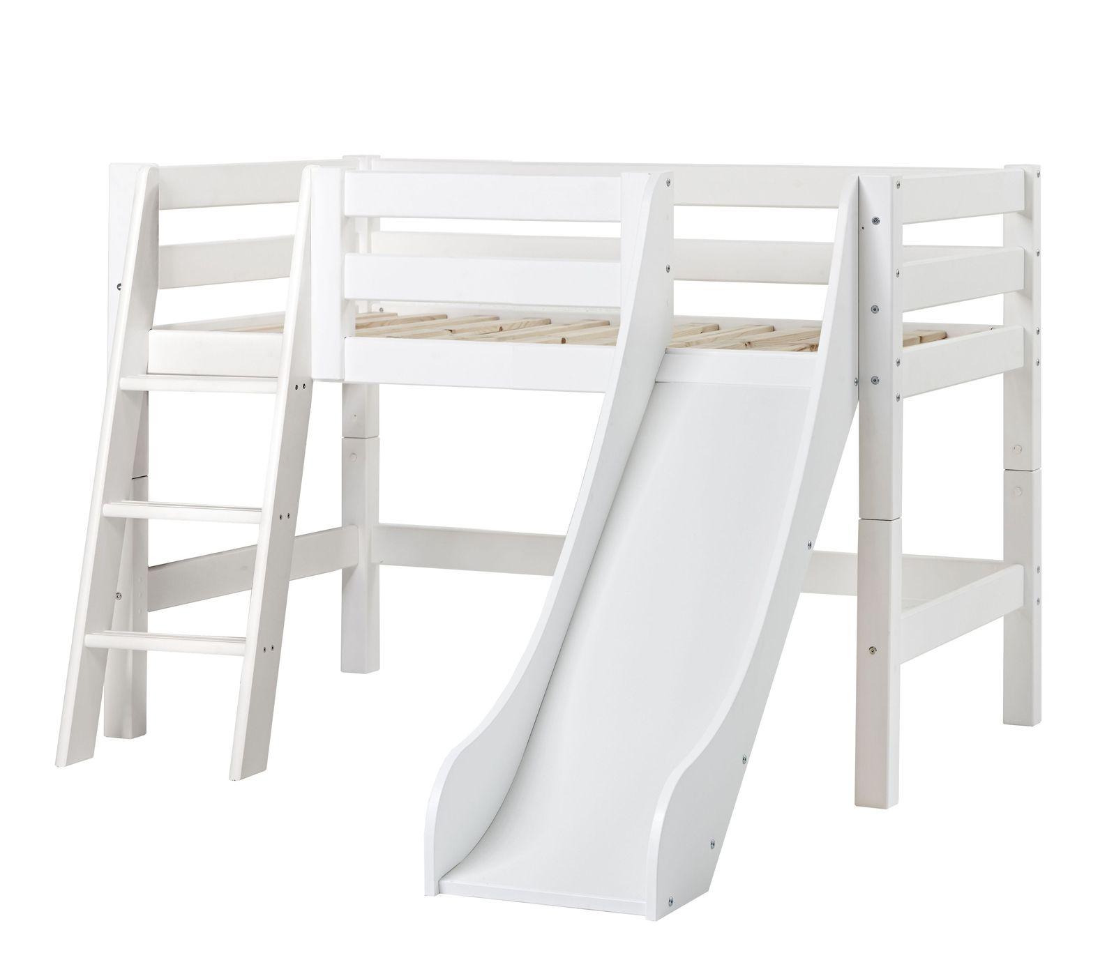 kinderhochbett mit schr ger rutsche. Black Bedroom Furniture Sets. Home Design Ideas