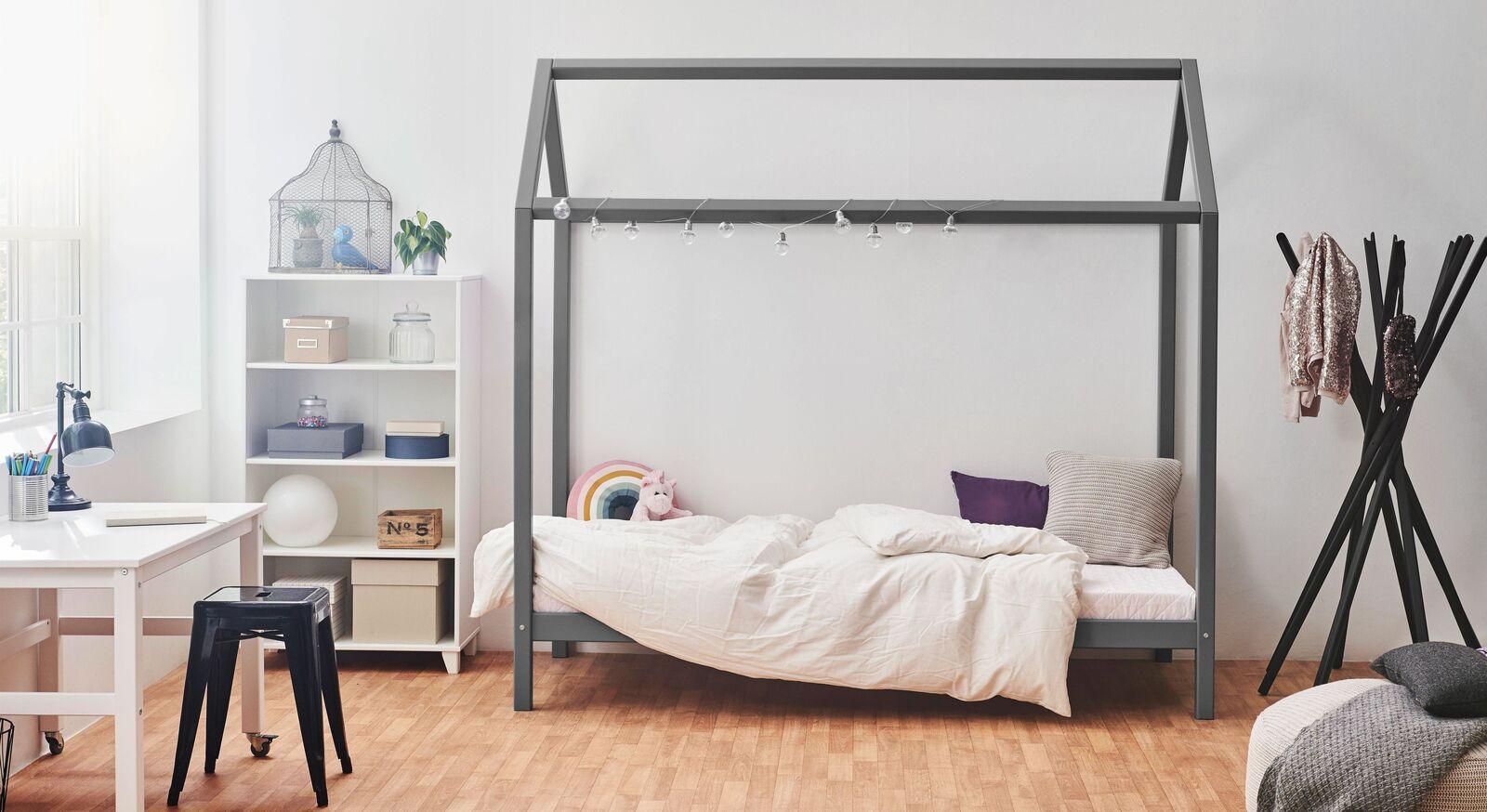 Hausbett Kids Heaven Girl und Boy in Grau fürs Kinderzimmer