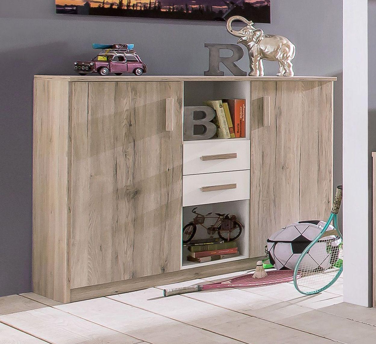 highboard mit t ren schubladen und offenen f chern tropea. Black Bedroom Furniture Sets. Home Design Ideas