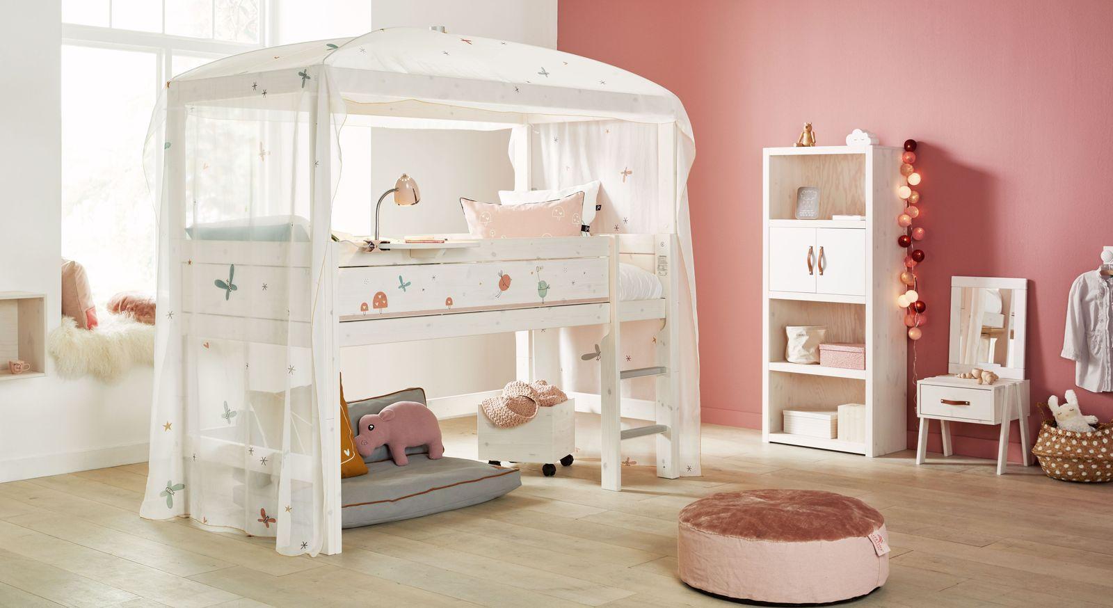 gemustertes lifetime himmel hochbett kiefer massiv feenstaub. Black Bedroom Furniture Sets. Home Design Ideas