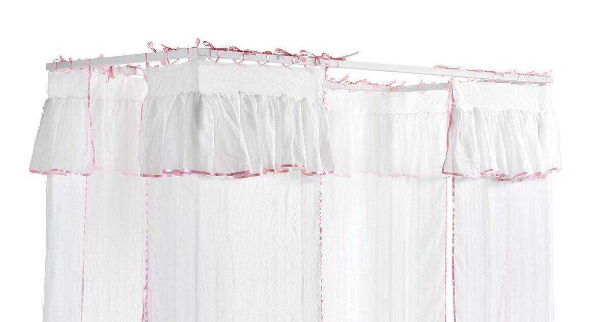 Himmelbett Asami mit Baldachin in Weiß-Rosa