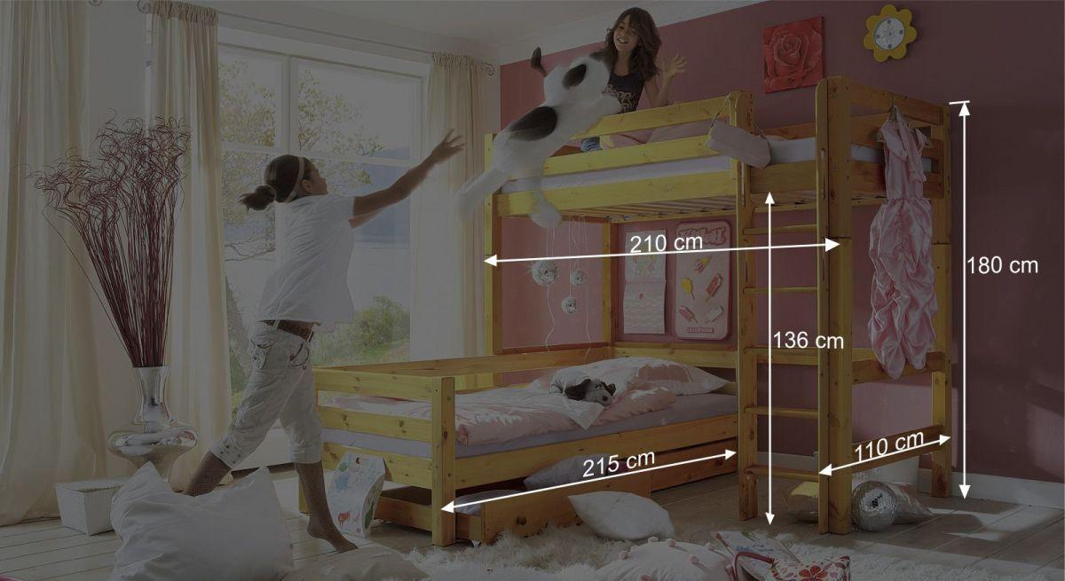 Etagenbett Derby : Eck etagenbett aus massiver kiefer einzeln stellbar kids paradise