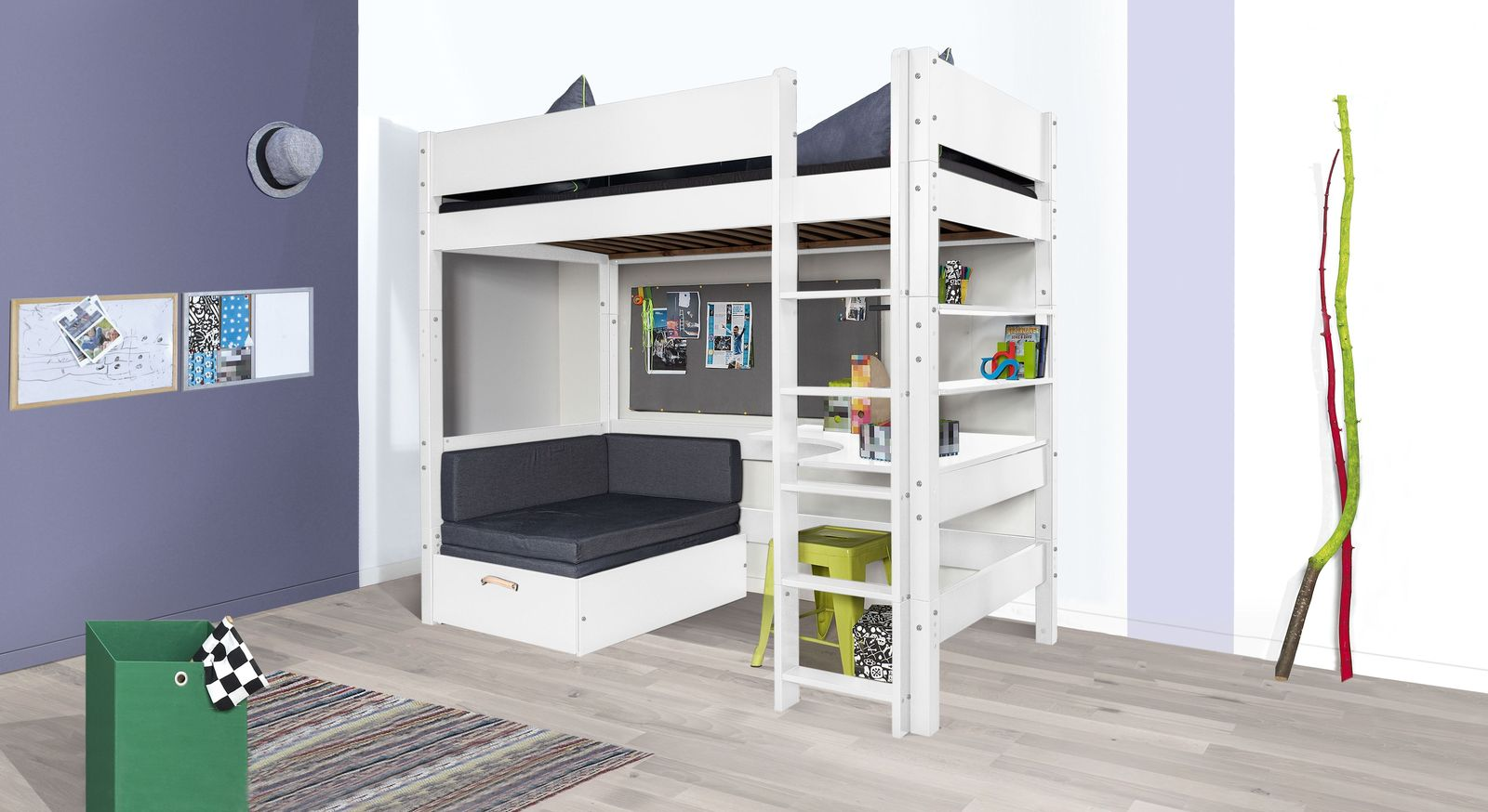 hochbett mit sofa optionalem schreibtisch bestellen kids town. Black Bedroom Furniture Sets. Home Design Ideas