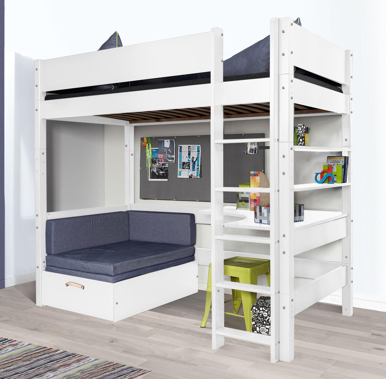 hochbett mit sofa optionalem schreibtisch bestellen kids town. Black Bedroom Furniture Sets. Home Design Ideas