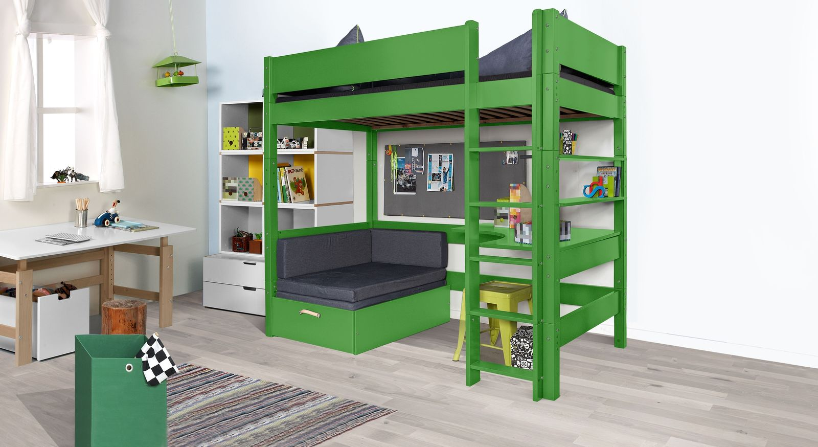 Etagenbett Mit Sofafunktion : Hochbett z b grün in breiten kids town color mit ausziehsofa