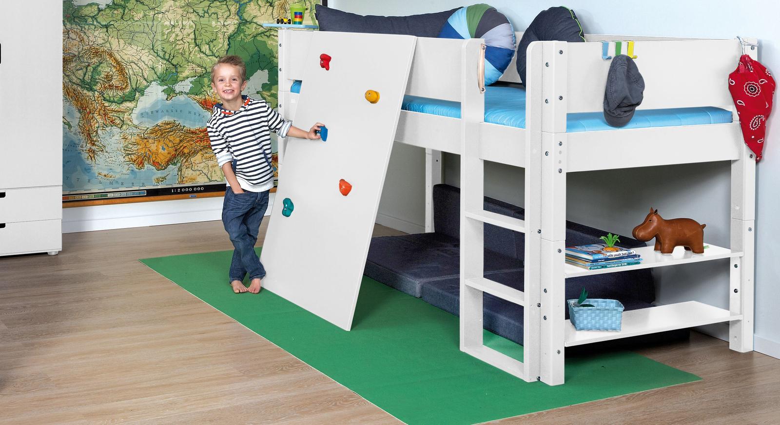 Hochbett Kids Town mit Kletterwand in Uni weiß