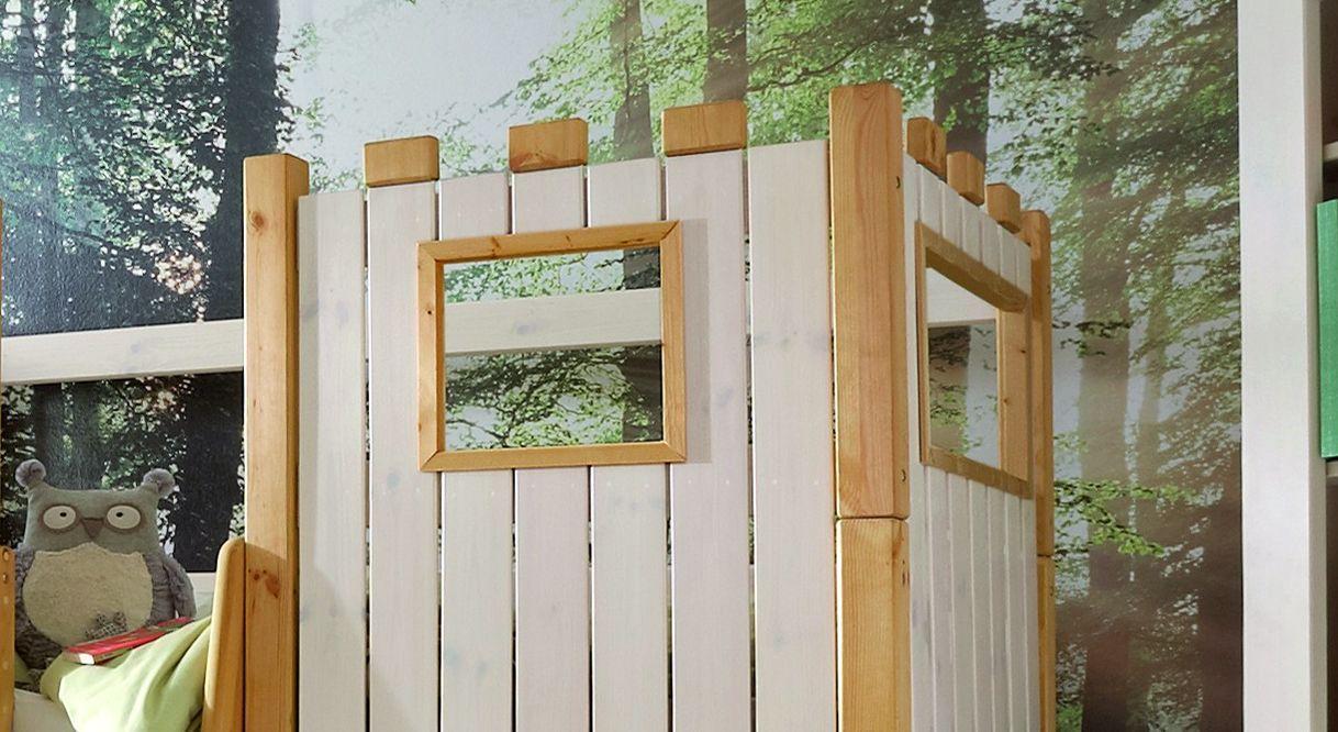 Kinderbett Hochbett Ritterburg Kombination aus weiß lasiertem und gelaugt/geöltem Holz